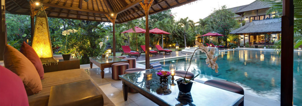 Bali Villa-Kalimaya-I--Poolside-living-area-at-sunset